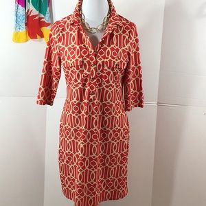 Jude Connally red/tan shift dress